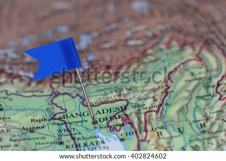 Map with blue flag in Dhaka, Bangladesh - stock photo