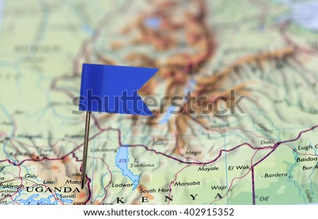 Map with blue flag in Uganda, Africa - stock photo