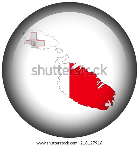 Map with flag in button - Malta - stock photo