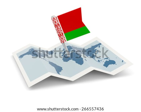 Map with flag of belarus isolated on white - stock photo