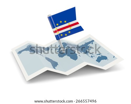 Map with flag of cape verde isolated on white
