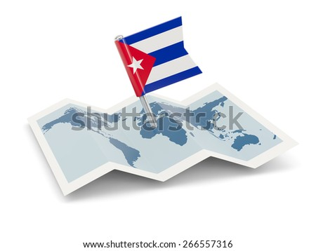 Map with flag of cuba isolated on white
