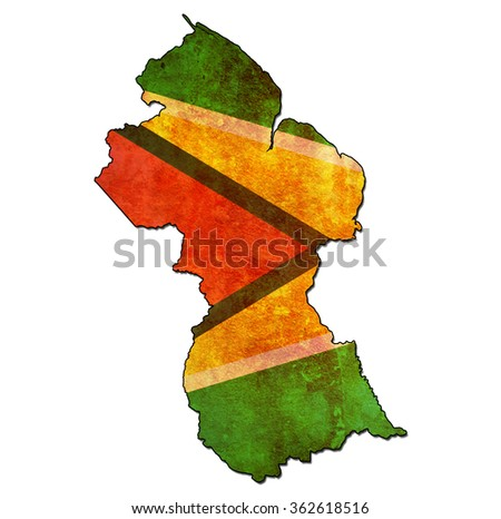map with flag of guyana with national borders - stock photo