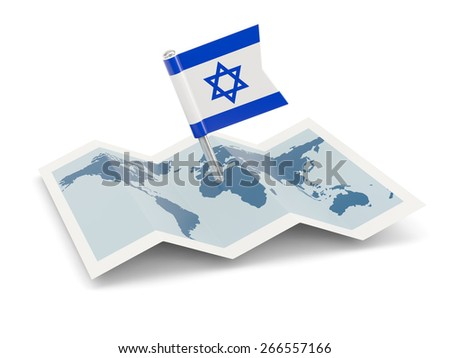 Map with flag of israel isolated on white