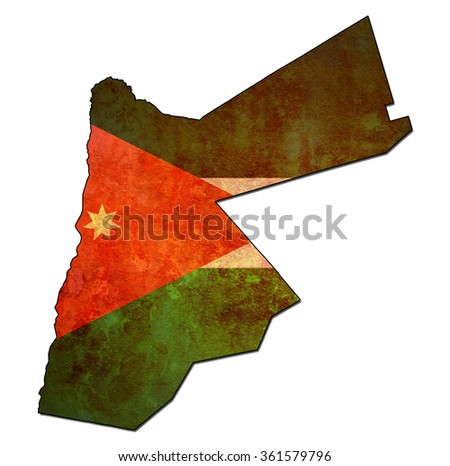 map with flag of jordan with national borders - stock photo