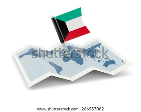 Map with flag of kuwait isolated on white - stock photo