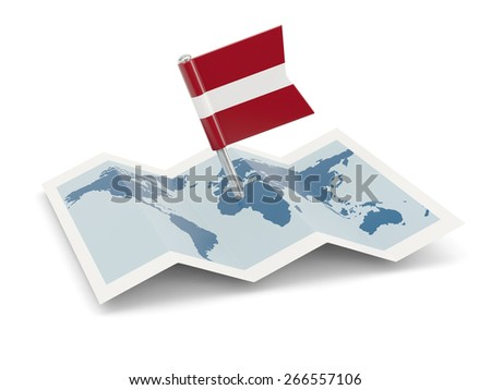 Map with flag of latvia isolated on white - stock photo
