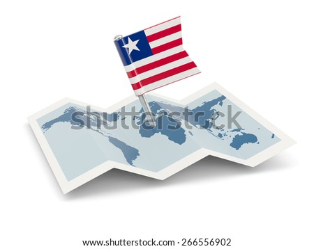 Map with flag of liberia isolated on white