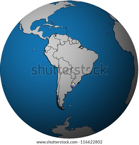map with flag of uruguay on isolated over white map of globe