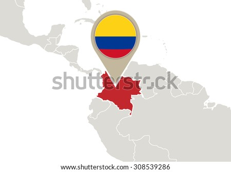 Map with highlighted Colombia map and flag, Rasterized Copy