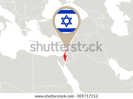 Map with highlighted Israel map and flag, Rasterized Copy - stock photo