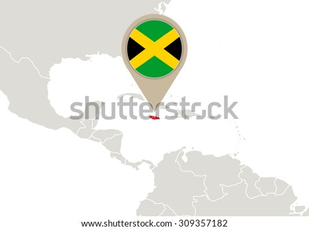 Map with highlighted Jamaica map and flag, Rasterized Copy - stock photo