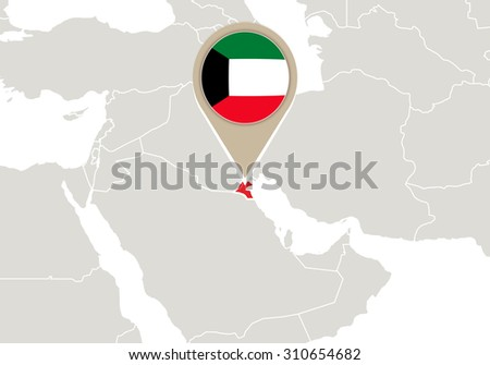 Map with highlighted Kuwait map and flag, Rasterized Copy - stock photo