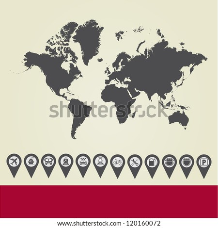 Map with Navigation Icons. Vol. 2. Vector version also available in my portfolio. - stock photo