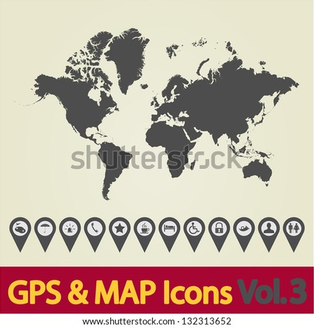Map with Navigation Icons. Vol. 3. Vector version also available in my portfolio. - stock photo