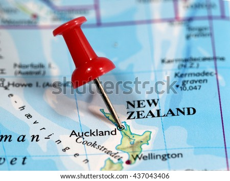 Map with pin point of Auckland in New Zealand - stock photo