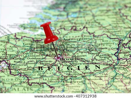 Map Pin Point Bruxelles Luxembourg Stock Photo Royalty Free