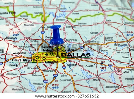 map with pin point of dallas in usa - stock photo