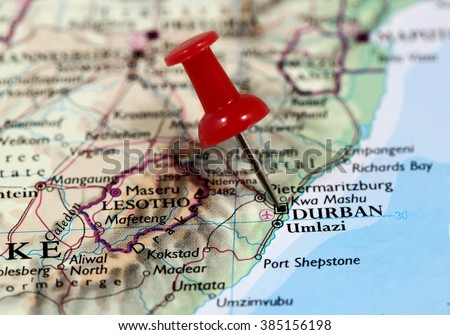 Map Pin Point Durban South Africa Stock Photo Royalty Free