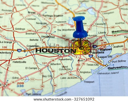 map with pin point of houston in usa
