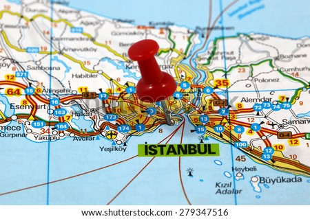 Map with pin point of Istanbul in Turkey - stock photo