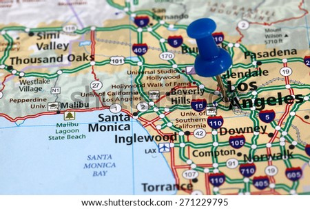 Map Pin Point Los Angeles California Stock Photo (Edit Now ...