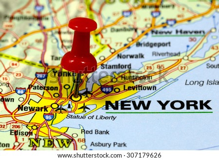 map with pin point of new york in usa - stock photo