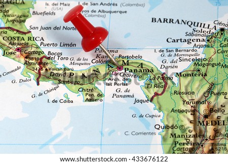 Map with pin point of Panama City in Panama