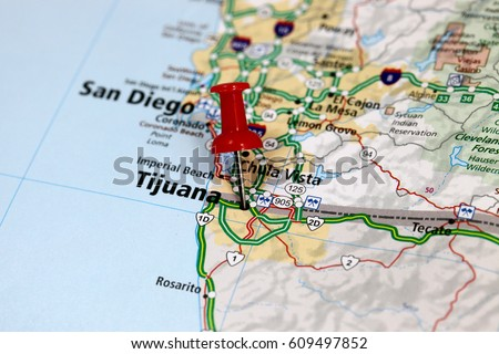 Map Pin Point Tijuana Mexico Stock Photo Royalty Free 609497852