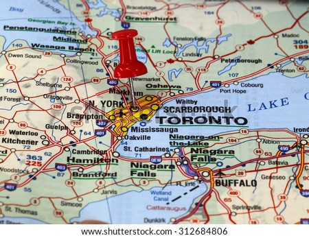 map with pin point of toronto in canada - stock photo