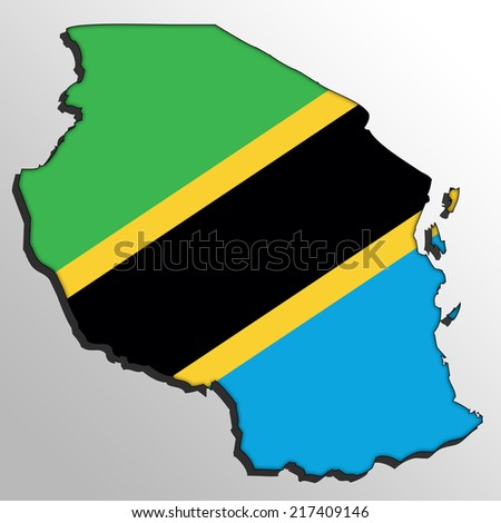 Map with the flag inside - Tanzania