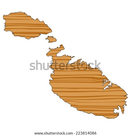 Map with wood texture inside - Malta - stock photo