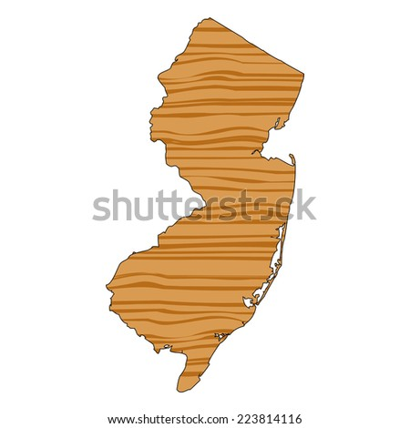 Map with wood texture inside - New Jersey