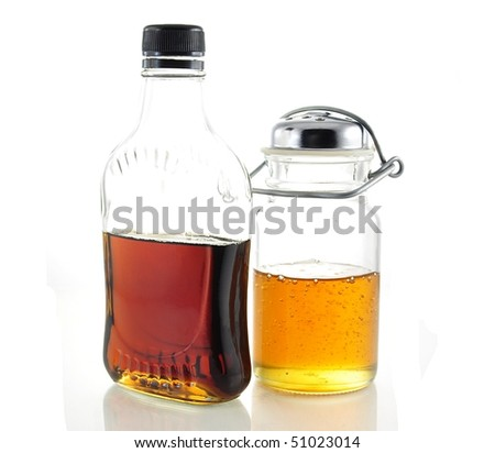 maple syrup and honey - stock photo