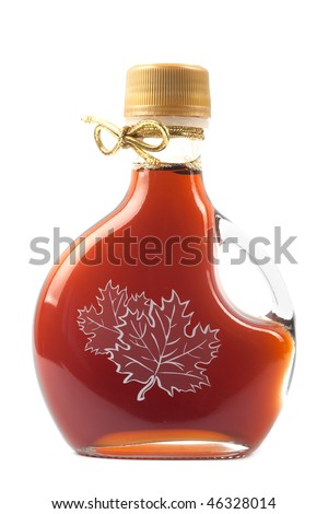 Maple Syrup Bottle isolated on a white background. - stock photo