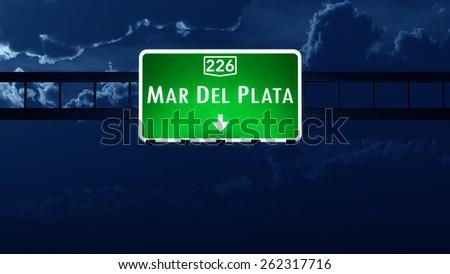Mar Del Plata Argentina Highway Road Sign at Night - stock photo