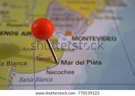 Mar Del Plata Marked On Map Stock Photo Royalty Free 770539222