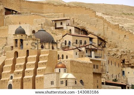 Mar Saba monastery buildings, Israel. - stock photo