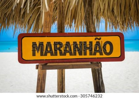 Maranhao sign with beach background - stock photo