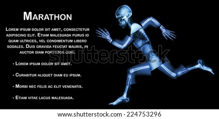 Marathon (human bone is running) ,(Whole body x-ray : head ,neck ,shoulder ,arm ,elbow ,forearm ,hand ,finger ,joint ,thorax ,abdomen ,back,pelvis ,hip ,thigh ,leg ,knee ,foot ,heel) - stock photo