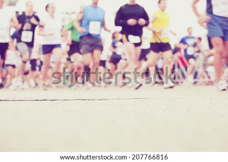Marathon runners at the starting line  - stock photo