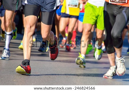 Marathon running race, people feet on road, sport, fitness and healthy lifestyle concept  - stock photo