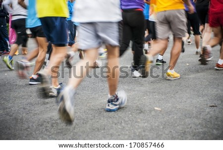 marathon start, shoes runner no face - stock photo