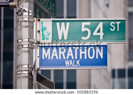 Marathon Walk street sign in New York City, located at the corner of West 54th St. and 6th Avenue in Manhattan.