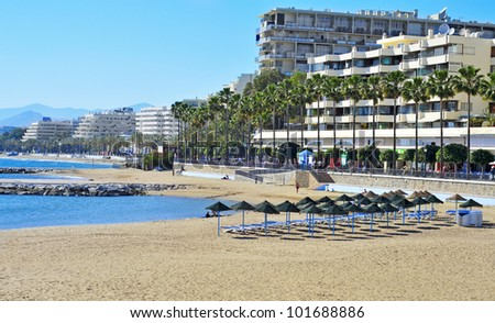 MARBELLA, SPAIN - MARCH 13: view of Venus Beach on March 13, 2012 in Marbella, Spain. This beach is 400 meters long and 50 meters wide and has disabled access - stock photo