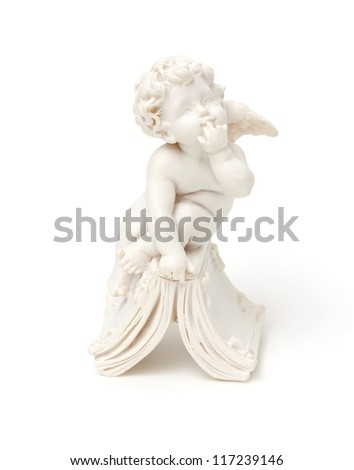 marble angel isolated on white background