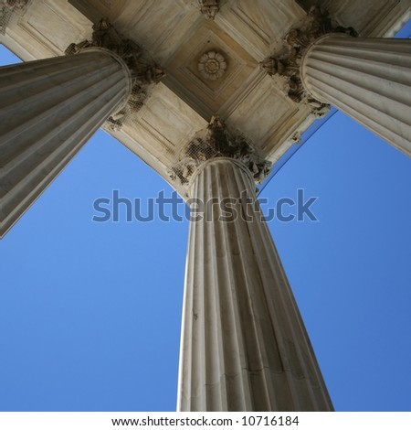 marble columns at Supreme court Washington DC - stock photo