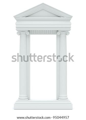 marble columns on white background - stock photo