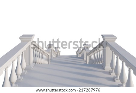Marble 3d rendered staircase. - stock photo