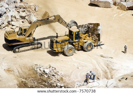 Marble extraction in a quarry - stock photo